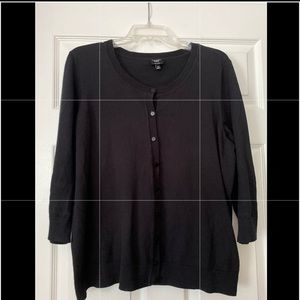 Talbots charming cardigan, black, 2X.